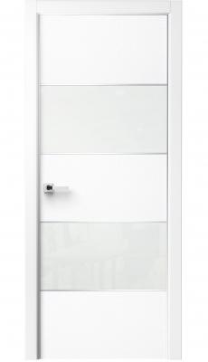 Titanium Interior Door Bianco Noble / White Glass